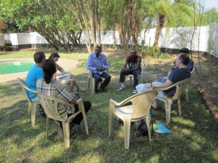 Meeting between the Irish group and the Savannah Intercultural Institute (a member of which is travelling to Ireland during the exchange), Lusaka